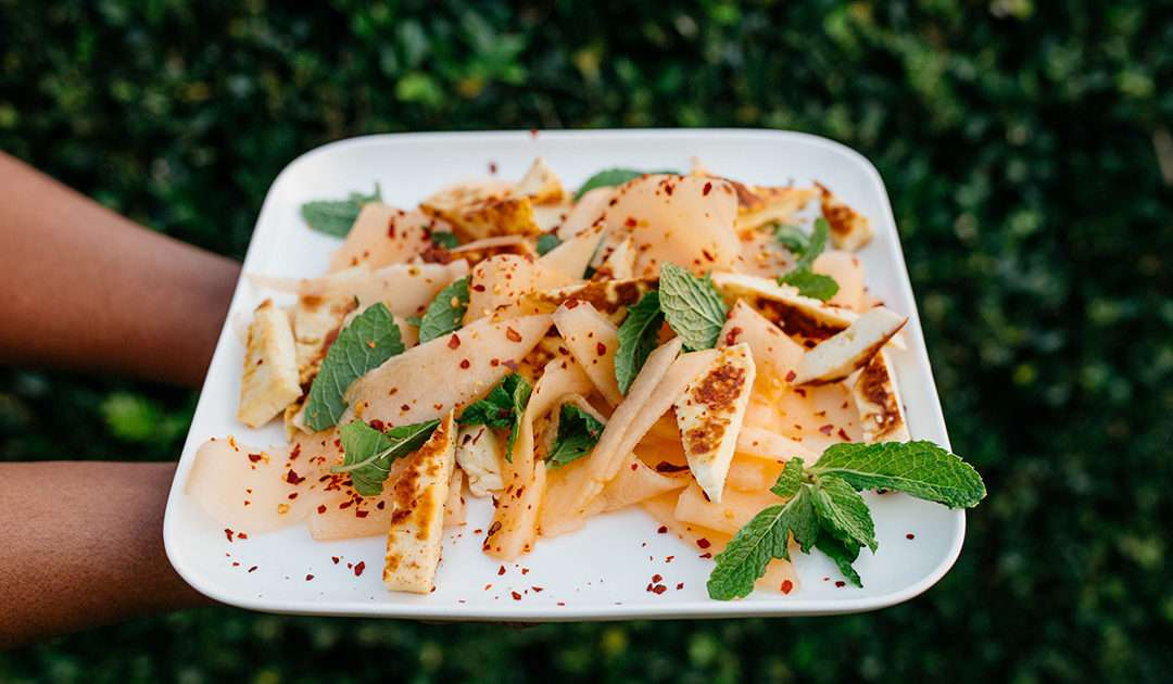 Orange Candy Melon Haloumi salad landscape